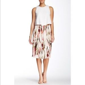 NEW English Laundry floral pleated midi skirt